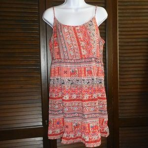 ONE CLOTHING Red Blue Print Short Babydoll Dress L